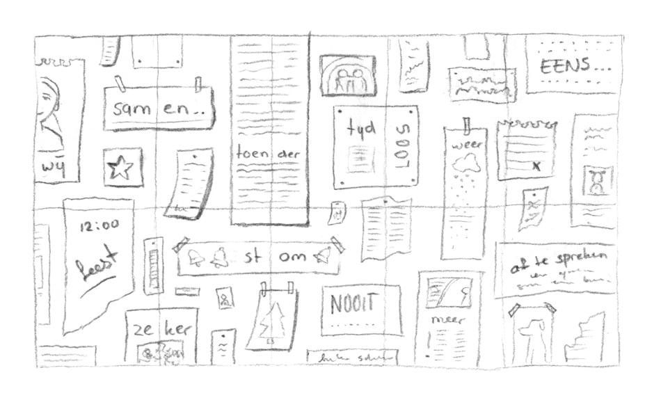 Eerste studie en schetsen 'briefjes'