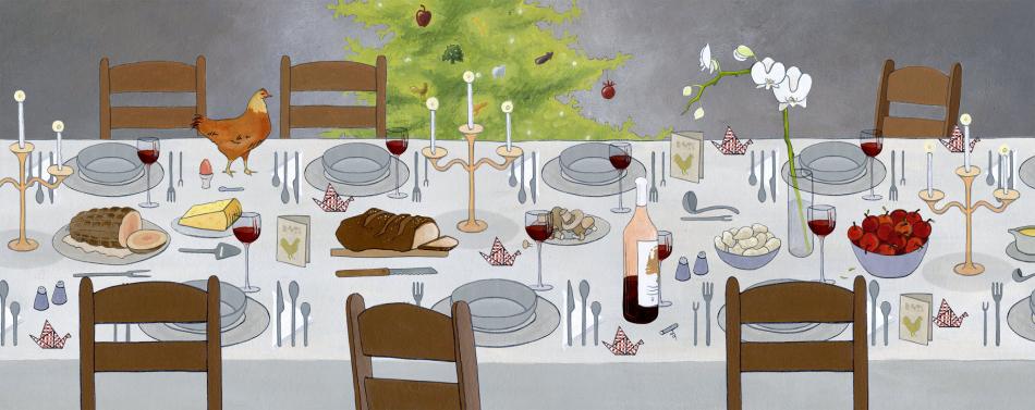 Illustratie 'kerstdiner' voor advertentiecampagne Nederland Bloeit