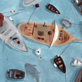 Jetswerk illustratie afstuderen ArtEz Hogeschool voor de kunsten afstudeerwerk prentenboek bunkerschip detail haven