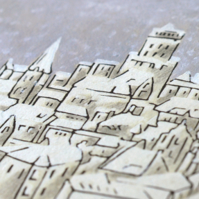 jetswerk illustratie sneeuw stad kerstkaart detail close up