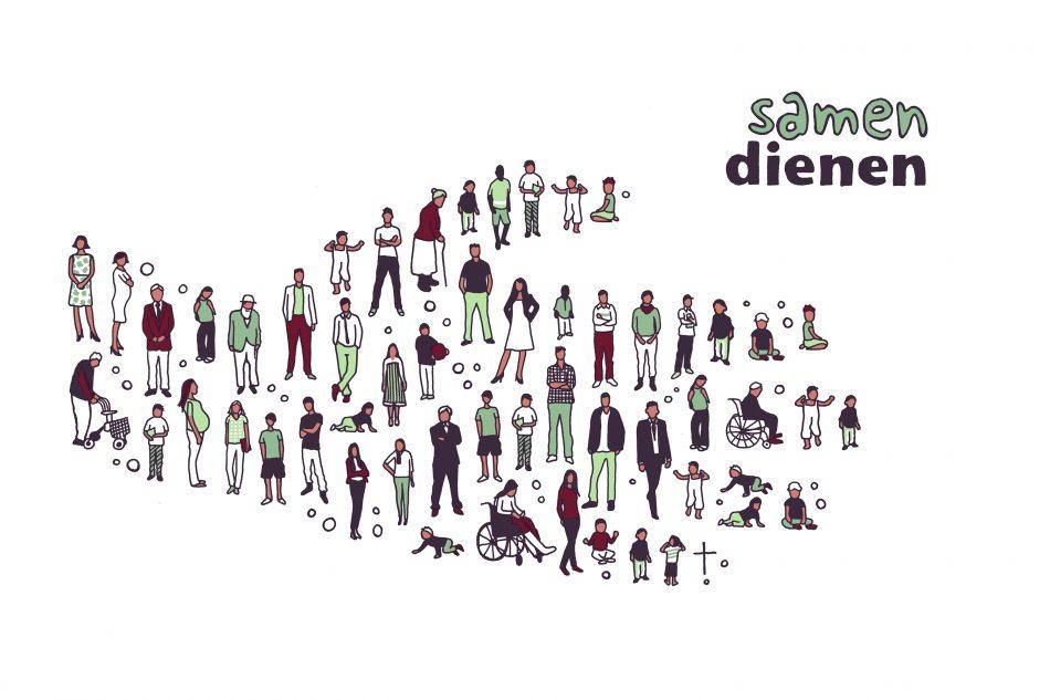 Illustratie voor kaartje Samen Dienen