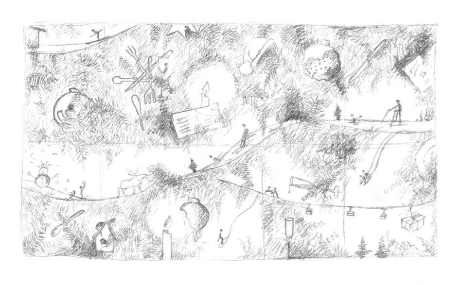 Tweede studie en schetsen 'boom'