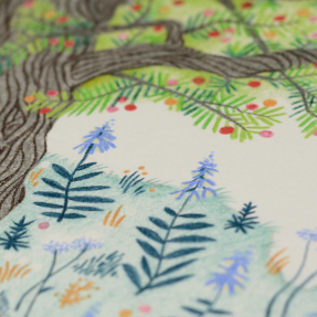 Jetswerk voorjaar boom bloesem bloemen kaart dubbel