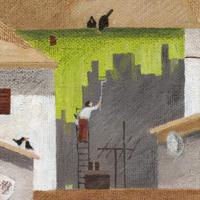 Jetswerk dakenschilderij 100 vogels 12 katten detail