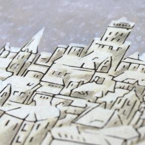 jetswerk illustratie sneeuw stad kerstkaart detail close up
